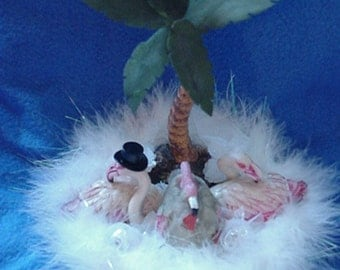 Flamingo Bride and Groom Flamingoes with baby egg   palm tree