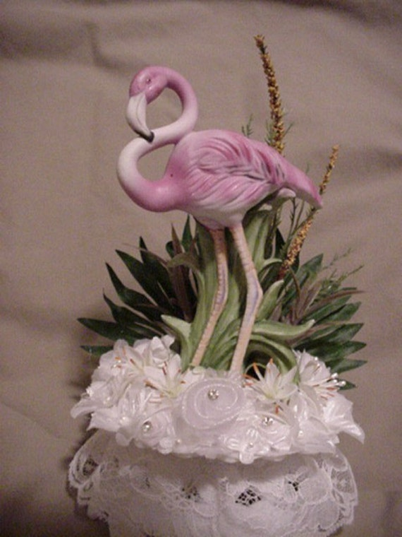 Lefton China Flamingo Beach Wedding Cake Topper Awesome