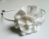 White Metal Headband with Ribbon Flower