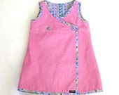 Girl's Wrap Dress Pink Corduroy - 4 years 4T