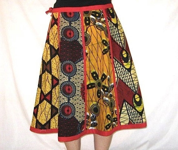 Patchwork African Skirt - Up to 36 1/2 inches (93cm) Waist
