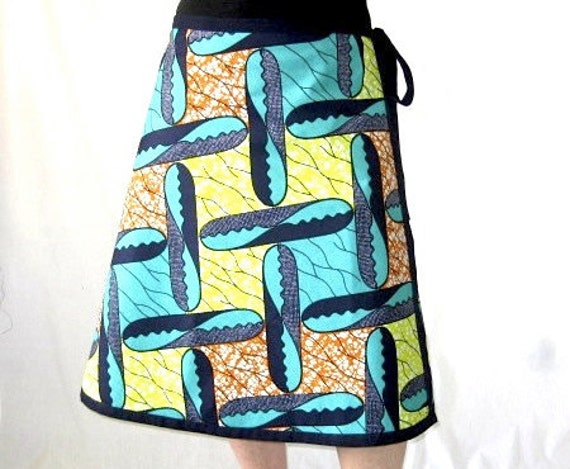 African Skirt - Wrap - Wax Batik - M L XL