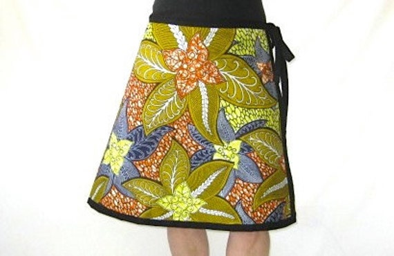 Wrap Skirt - African Wax Batik - Small/Medium