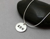 Personalized Initials letter stamped sterling silver pendant