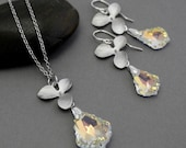 Romantic orchid flowers bridal Swarovski crystal necklace and earrings set