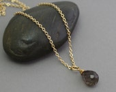 Smoky quartz solitaire golden necklace