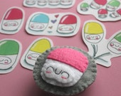 Pink Happy Pill Squishling Badge and Sticker Set