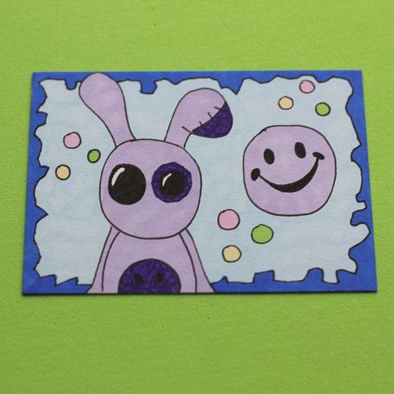 Zombie Happy Bunny ACEO original