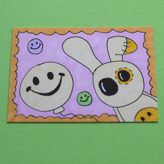 Zombie Happy Bunny ACEO original