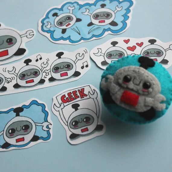 Robot Squishling Badge and Sticker Set