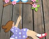 Girl On Swing Wood Wall Art- Hand Painted