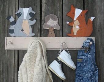 WOODLAND ANIMALS Clothing Peg Rack & Hooks - Original Hand Painted Hand Crafted Wood - Personalized