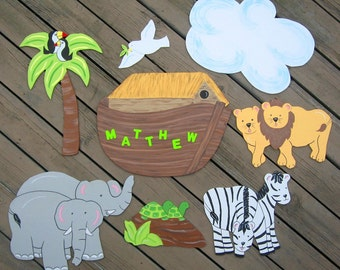 NOAH'S ARK Kids Wood Wall Art - Original Hand Painted Artwork - Personalized
