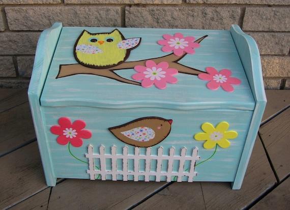 Toy Box WOODLAND OWL - Hand Painted Keepsake/Seat & Storage