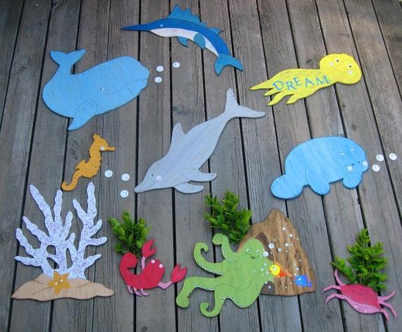 Ocean Wall Decor For Nursery : Items similar to ocean nursery wall decor hand painted