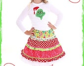 Custom Boutique Lollipopz Grinch Applique Top and Twirl Skirt Set