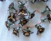 Three petals, brown&beige color oya flowers