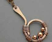 Oxidized Copper Curvy Circle Necklace with Copper Beads