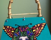 Painted wooden purse-Come fly with me -The Tattooed butterfly Girl