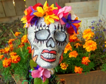 Day of the Dead Catrina Glitter skull OOAK Decoration  Sale