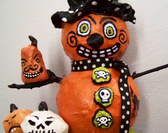 The evil pumpkin king that stole Halloween-whimiscal handmade clay decoration