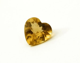 Citrine Heart Gemstone Solitaire  -  AA Plus 1.84 Ct. Fishnet Faceted Gem