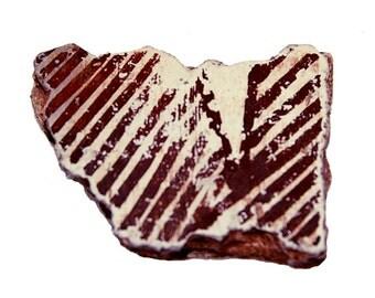 Auburn Striped Auburn Anasazi Pottery Shard with White Background (Number 13)