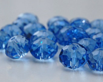 London Blue Faceted Crystal Rondelles 10 X 7mm