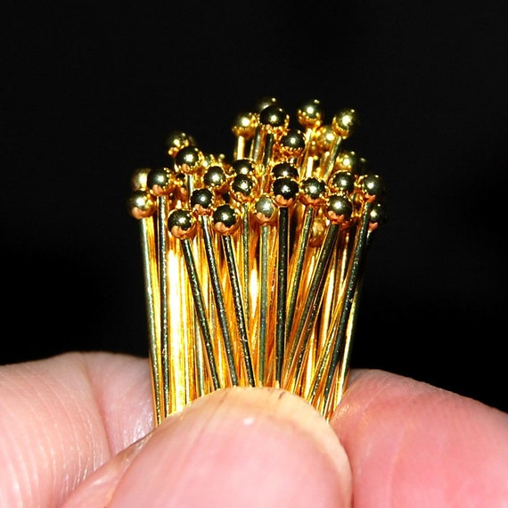 50 Gold-plated Ball Headpins, Bulk Pack