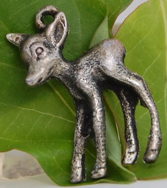 Fawn Charm in Vintage Sterling Silver, Deer Pendant