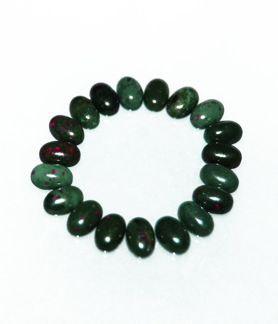 19 Oval Bloodstone Cabs 4 X 6mm Deep Green