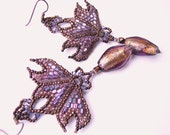 Art Nouveau Fleur-de-Lis Chandelier Earrings with vintage French Copper Seed Beads