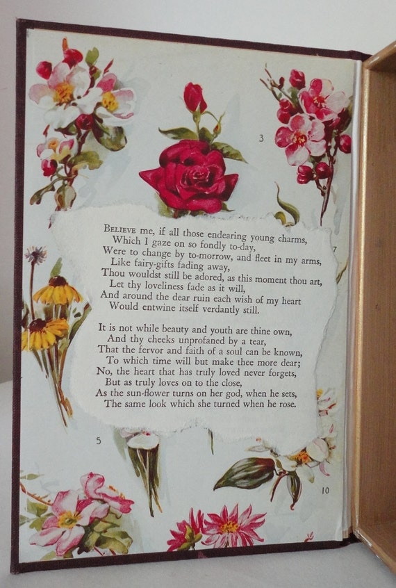 Hollow Book MOORE POEMS love forever Keepsake Box from Vintage Book Cover Roses and Poetry Romance Wedding Gift