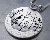 Woodland Forest Silver Tree Pendant no.1 - By Beth Millner