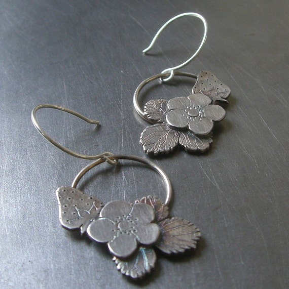 Silver Strawberry Earrings - By Beth Millner