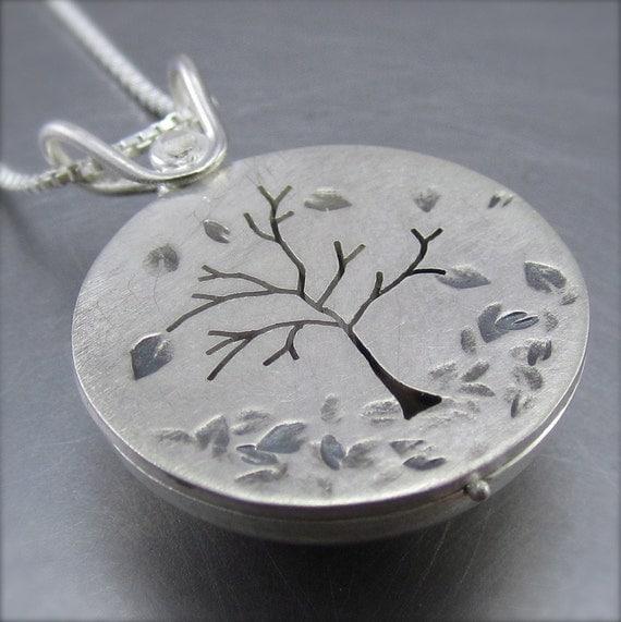 Locket - Autumn Silver Tree Locket - By Beth Millner