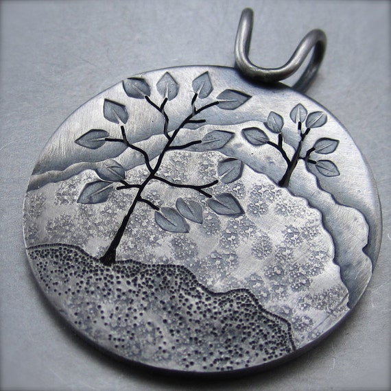 Two Trees on the Hillside Pendant - By Beth Millner