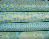 Amy Butler Fabric - Set of 4 Midwest Modern Fat Quarters in Lime\/Yellow by Fabric by the Yard