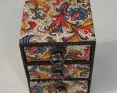 petite paisley print three pull drawer  box for jewelry, beads, supplies, doll furniture, display and shipping