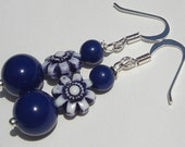 sweet navy and white flowers with navy round beads pierced dangle hand made wire wrapped earrings