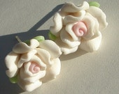 small white with pink polymer clay rose pierced post earrings