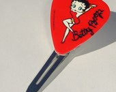 BETTY BOOP red guitar pick hair clip design 1