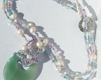 Jade Necklace Beaded Pearl Jade Necklace One of a Kind statement piece necklace by Ziporgiabella