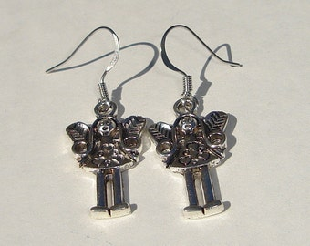angel girl charm pierced dangle hand made earrings
