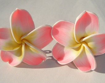 large sweet pink yellow and white polymer clay plumeria hibiscus flower PIERCED post earrings