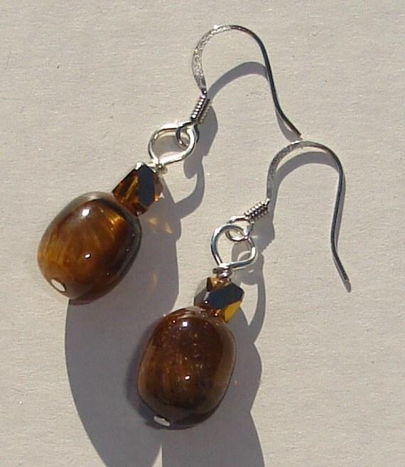 tiger eye and crystal pierced dangle earrings