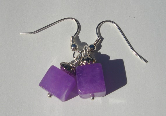 purple stone with antiqued silver tone bead hand made wire wrapped pierced dangle earrings