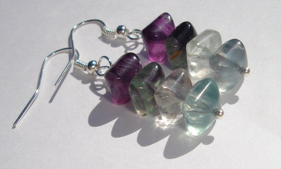 pillow cushion cut fluorite stack pierced dangle earrings