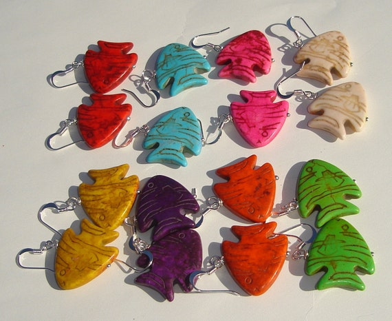 colorful tropical fish handmade pierced dangle wire wrapped earrings PICK YOUR COLOR