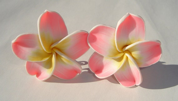 large sweet pink yellow and white polymer clay plumeria hibiscus flower clip on earrings